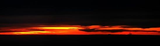 panorama- solnedgång Royaltyfria Bilder