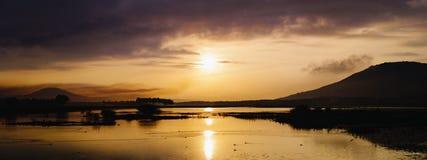 Panorama- soluppgång Indien Kodaikanal Fotografering för Bildbyråer
