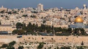 Panorama som förbiser den gamla staden av Jerusalem, Israel, includin Arkivfoton