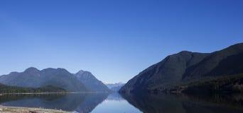 Panorama som skjutas av sjön mellan berg Fotografering för Bildbyråer