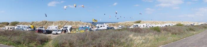 Panorama som surfar område Fotografering för Bildbyråer