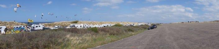 Panorama som surfar område Arkivfoton