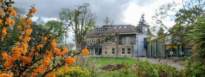 Panorama som tas på en solig vårdag av Pinner Memorial Park, UK, västra hus och Heath Robinson Museum i bakgrunden royaltyfria foton