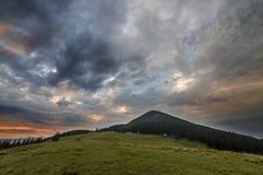 Panorama- sommarsikt, grön gräs- dal på avlägsen träig bergbakgrund under molnig himmel royaltyfri foto