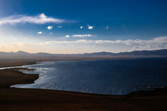 Panorama of Song Kul lake at the sunset Kyrgyzstan. Panorama of Song Kul lake at the sunset, Kyrgyzstan stock photo