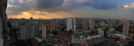 Panorama-Sonnenuntergang-Ansicht São Paulo stockfotos