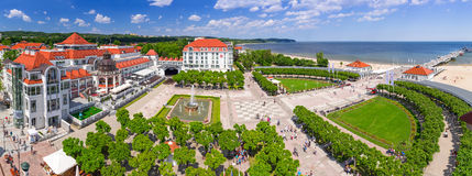 Panorama of Sopot at Baltic Sea in Poland. SOPOT, POLAND - 7 JUNE: Panorama of Sopot at Baltic Sea with wooden pier on 7 June 2014. Sopot pier with 511.5 meters Stock Image