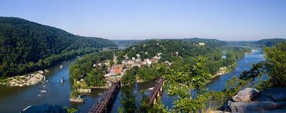 Panorama sopra il traghetto dei Harpers dalle altezze del Maryland Fotografia Stock