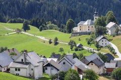 Panorama of Sorica village. Near Zelezniki, Slovenia stock photography