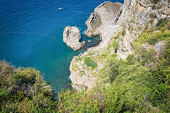 Panorama of the Sorrento coast. View of the coastline of Sorrento - Italy Stock Photo
