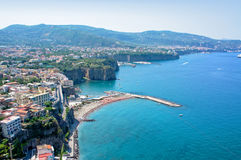 Panorama of the Sorrento coast. View of the coastline of Sorrento - Italy Royalty Free Stock Photography