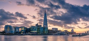 Panorama of the South Bank of the Thames River royalty free stock photography