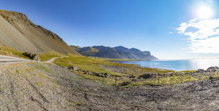 Panorama of the south east Ring Road of Iceland, Mountains sun a Stock Image