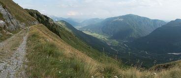 Panorama of south-east view of mountain range of Stol in Julian Alps in Slovenia Stock Photos