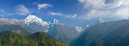 Panorama of the south face of the Annapurna Himal Royalty Free Stock Image