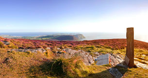 Panorama of South Isle of Man with Celtic Cross Royalty Free Stock Images