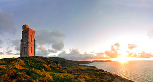 Panorama of South of the Isle of Man. Milner Tower Royalty Free Stock Image