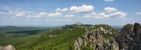 Panorama of South Ural mountains Stock Images
