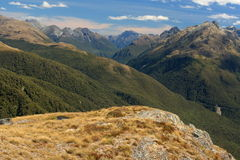 Panorama of Southern Alps in Fiordland National Park Stock Images