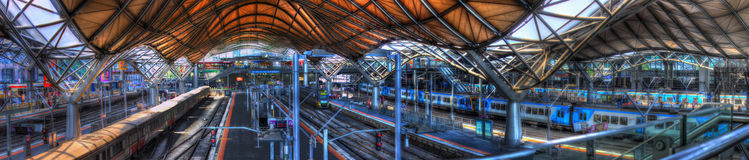 Panorama of Southern Cross Station in Melbourne Stock Images