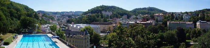 Panorama of the spa town Karlovy Vary stock photo