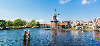 Panorama Spaarne river and mill in Haarlem, Netherlands Stock Photos