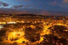 panorama spain för barcelona stadsnatt Royaltyfri Foto