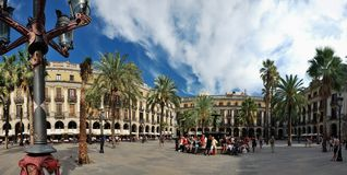 Panorama of a Spain square Royalty Free Stock Photo