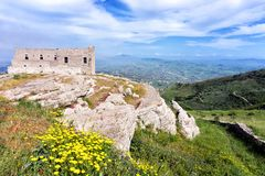 Panorama Spanish Quarter in Erice in Sicily, Italy. View of the Spanish Quarter in Erice in Sicily, Italy royalty free stock image