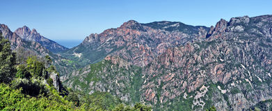 Panorama of Spelunca Canyon and Porto Valley in Corsica Island Royalty Free Stock Image
