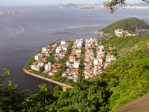Panorama spettacolare e punto di vista aereo della città di Rio de Janeiro fotografia stock libera da diritti