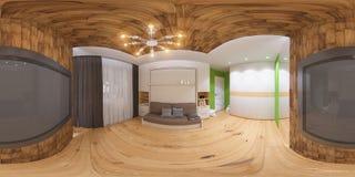 Panorama 360 sphérique d'illustration de chambre à coucher Image stock