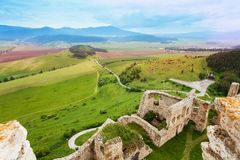 Panorama of Spis castle ruins. On the north of Slovak republic from the tower royalty free stock image
