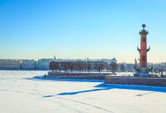Panorama of the Spit of the Vasilyevsky Island in St. Petersburg on a winter. Sunny day royalty free stock photography