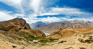Panorama of Spiti valley in Himalayas Royalty Free Stock Photo