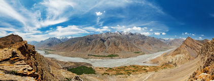 Panorama of Spiti valley in Himalayas Stock Image