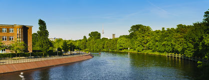 Panorama spree river berlin Stock Photo