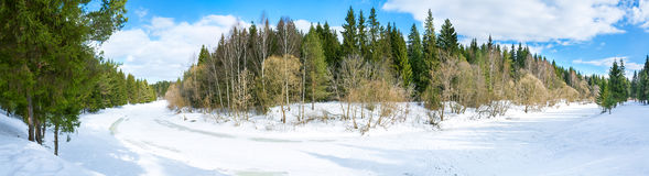 Panorama spring landscape with the river and the forest Royalty Free Stock Images