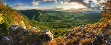 Panorama of spring mountain with forest at sunset, Slovakia Royalty Free Stock Photo