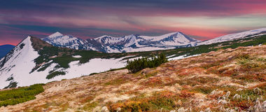 Panorama of the spring mountains at sunset Royalty Free Stock Photo