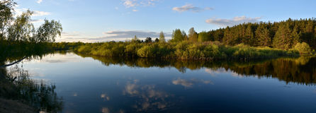 Panorama of the spring river. Stock Photography