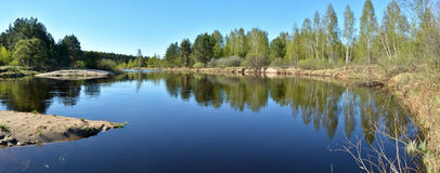 Panorama of spring river. Royalty Free Stock Photos