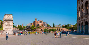 Panorama square of the Colosseum. ROME, ITALY - JUNE, 6: Panorama square of the Colosseum overlooking the arch of Constantine and temple of Venus on 6 june 2012 Stock Photo