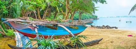 Panorama of Sri Lankan canoe. The old fishing canoe among the trees of Jungle Beach, Unawatuna, Sri Lanka stock images