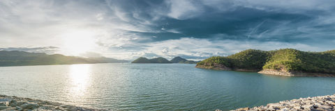 Panorama of Srinakarin Dam, Kanchanaburi, Thailand Royalty Free Stock Photography