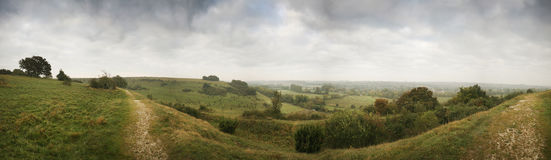 Panorama from St Catherine's Hill, Winchester. A 180 degree English landscape panorama, taken early on an overcast morning from St Catherine's Hill Stock Photos