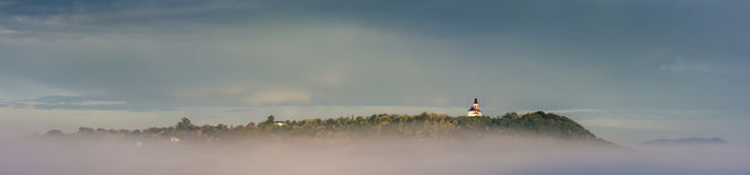 European Panorama Of Hrvatsko Zagorje Sveti Juraj ,Church In Croatia. Photo from St George, Church In Croatia. Shot is taken in 6 am with fog in the walley Stock Images