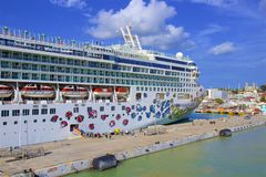 St John`s and a cruise port in Antigua, Caribbean. Panorama of St John`s and cruise port in Antigua, Caribbean royalty free stock photo