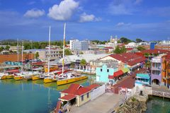 St John`s and a cruise port in Antigua, Caribbean. Panorama of St John`s and cruise port in Antigua, Caribbean stock photo