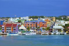 St John`s and a cruise port in Antigua, Caribbean. Panorama of St John`s and cruise port in Antigua, Caribbean stock photography